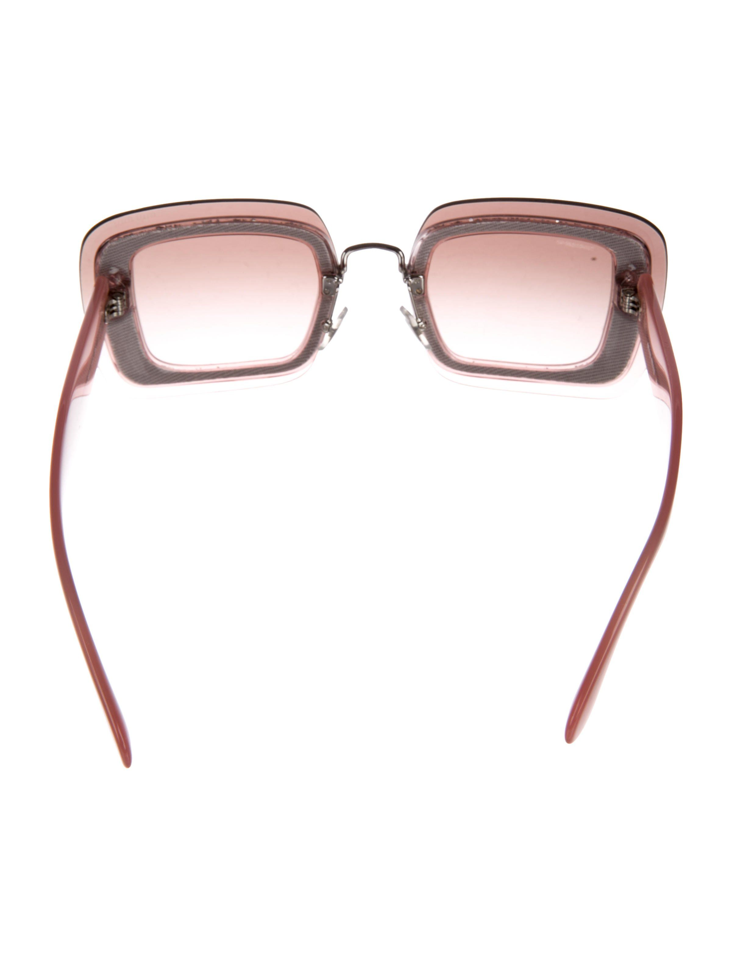 f7c0fd12303 Mauve resin Miu Miu Reveal square sunglasses with tinted lenses featuring  glitter trim and silver-tone logo at temples.