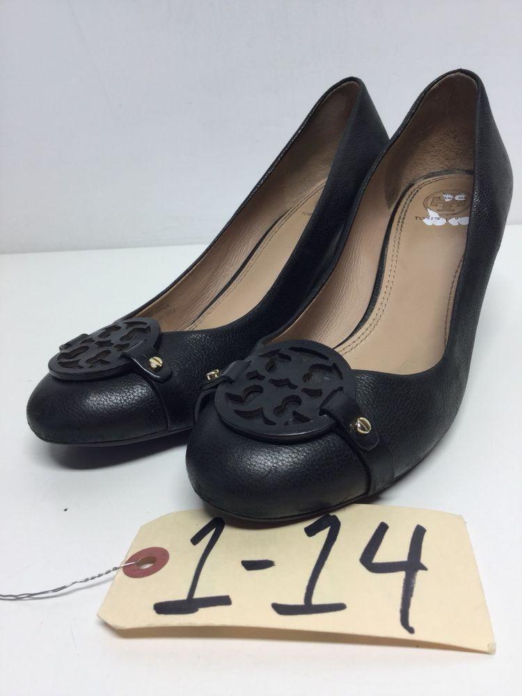 d9c277721d9a 114 Tory Burch Mini Miller Black Pebbled Leather Logo Wedge Pump Women Size  9 M