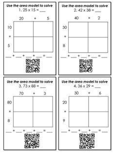 Multiplication with Area Models and Partial Products QR Code ...