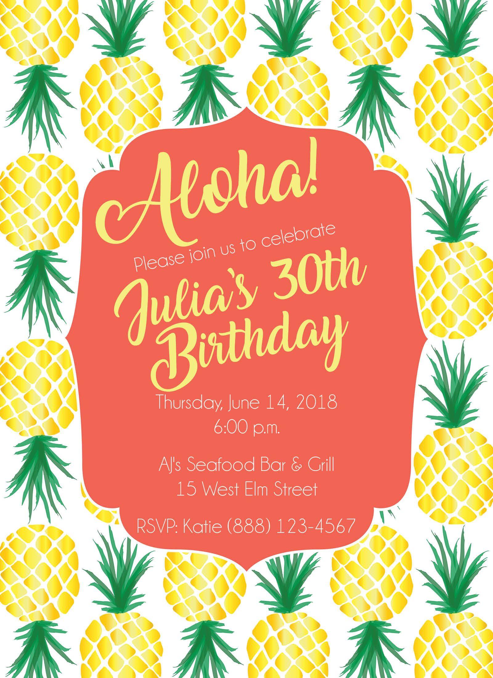 Pineapple Birthday Party Invitation - Tropical - Aloha - Customized ...