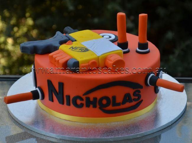Nerf Gun cake Amarantos Ruben nerf gun party Pinterest Nerf