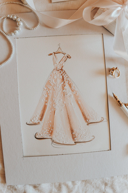 Photo of Wedding Dress Sketch, Custom Painting, Gift for Bride, Dress Illustration, Custom Dress Sketch, Fashion Illustration
