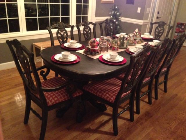Nice Dining Room Table And Chairs After Being Painted Black. Amazing Pictures