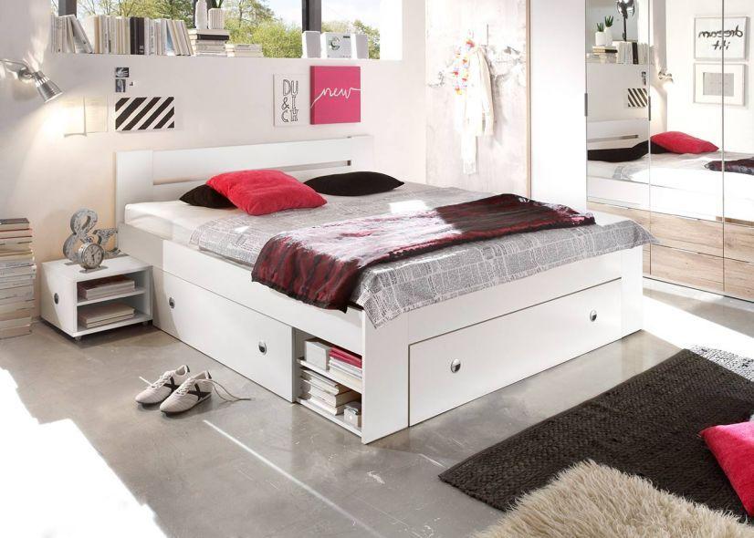 Bett mit Nachtschränken 140 x 200 cm Schlafzimmer set