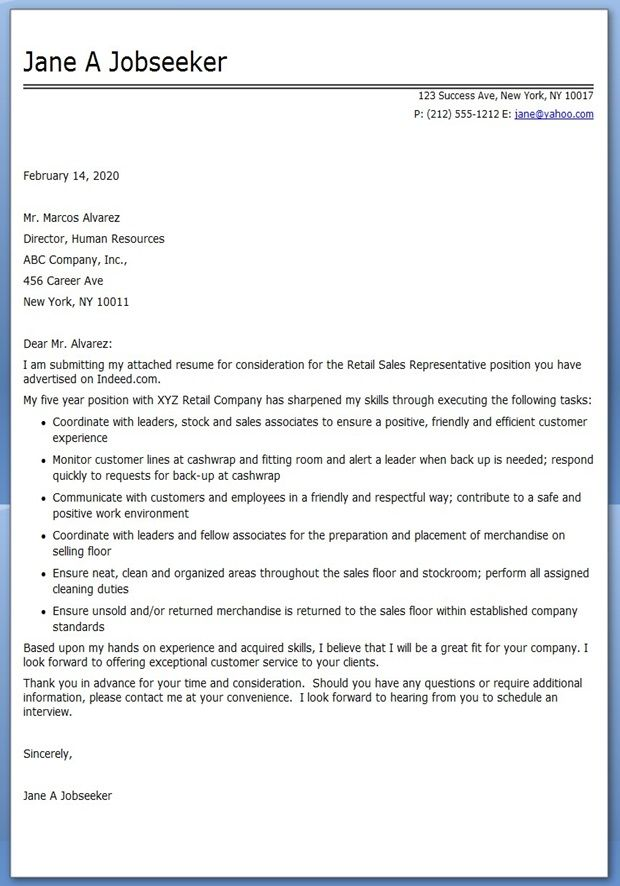 Retail Sales Clerk Cover Letter Sample RESUMES Pinterest - Cover Letter Sample For Retail