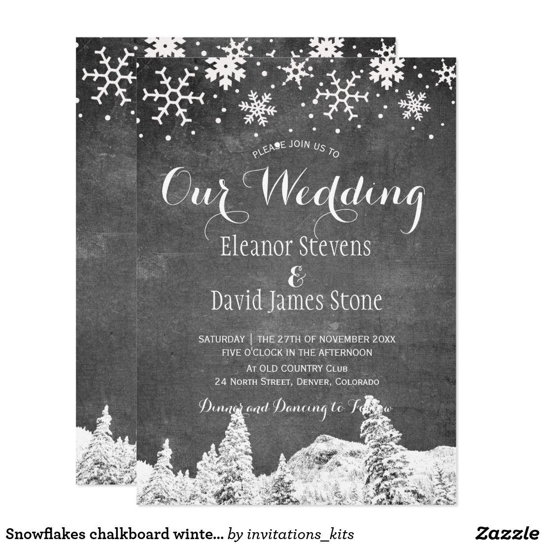 Snowflakes chalkboard winter woodland wedding invitation   Pinterest ...