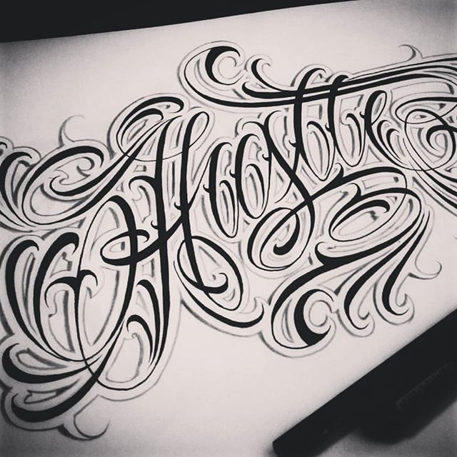 Tattoo Quotes Letter Style: Hustle Old Sketch #lettering #letters #typography