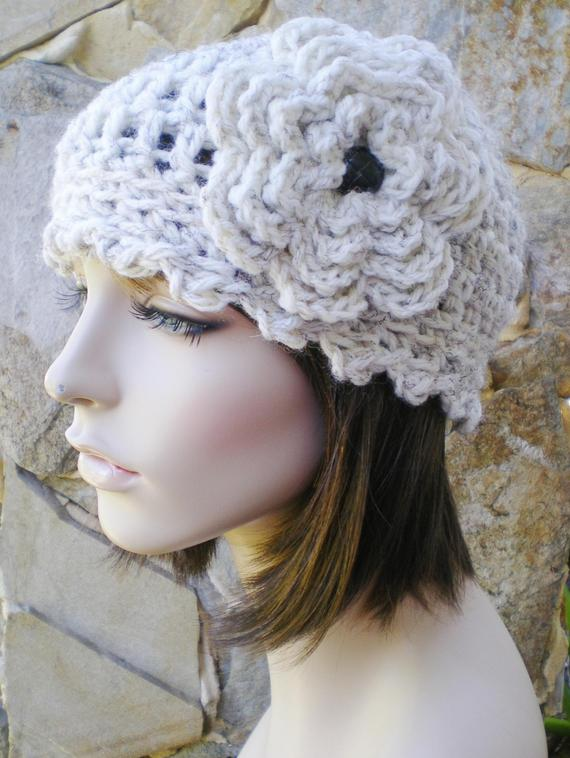 a61cb452142 hand crochet cloche hat ~ studio cloche ~ wheat with leather like button -  made to order