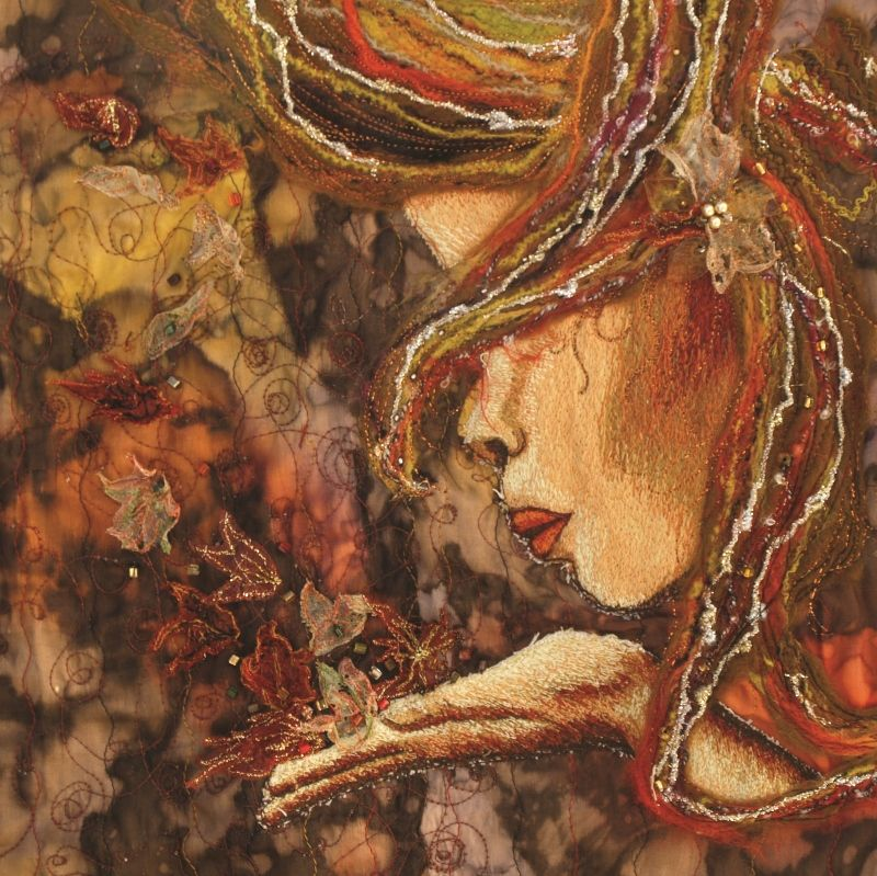 """Autumn"" from the 4 seasons series.  Techniques used include machine embroidery, embellished felting, beading, silk dyeing. #textileart #machineembroidery #goddess"
