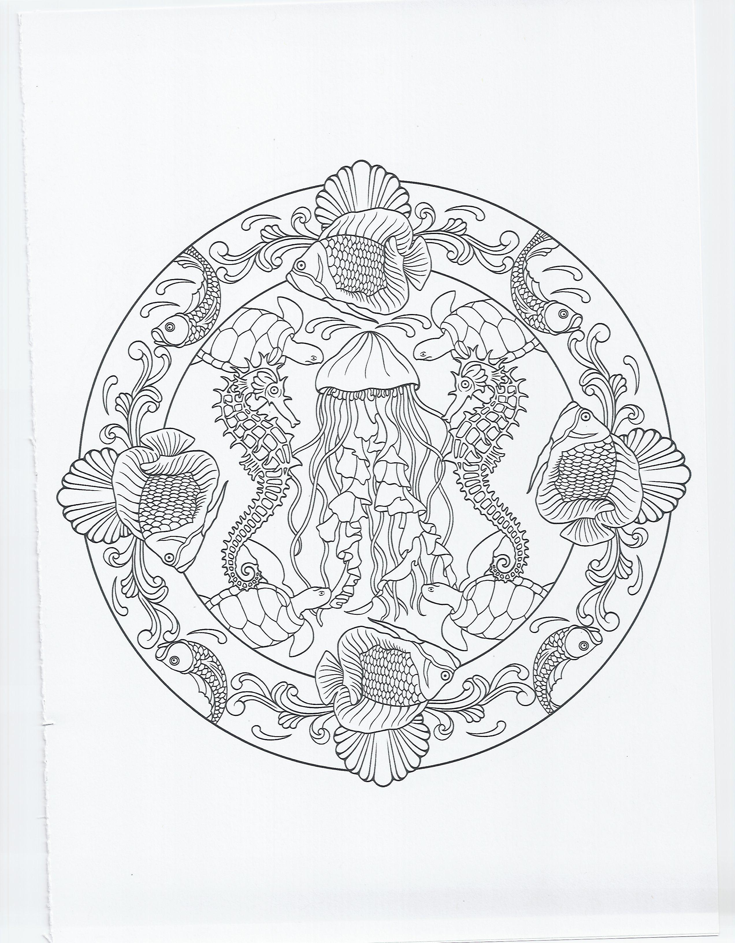 animal mandala seahorse coloring pages pinterest. Black Bedroom Furniture Sets. Home Design Ideas
