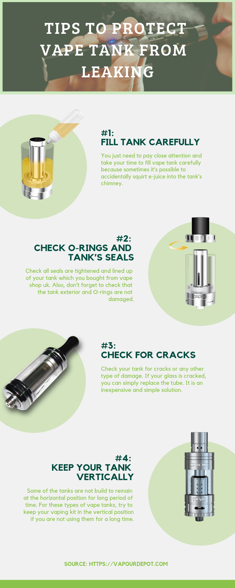 Tips to keep a vape Tank protected from e liquid leaking