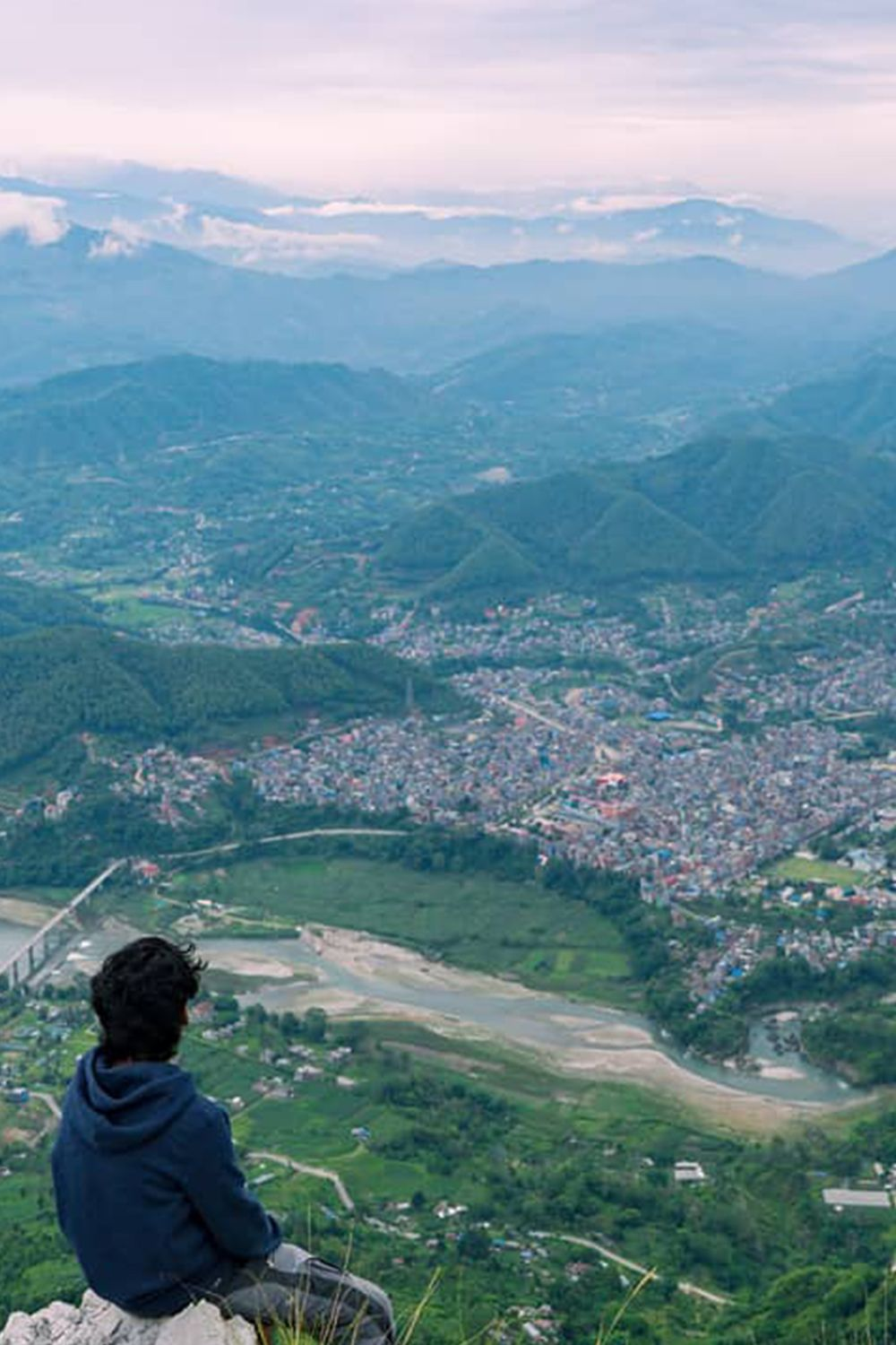 Top View Of Damauli Bazar From Manung Kot Hill Nepal Nepal Travel Above The Clouds Panoramic