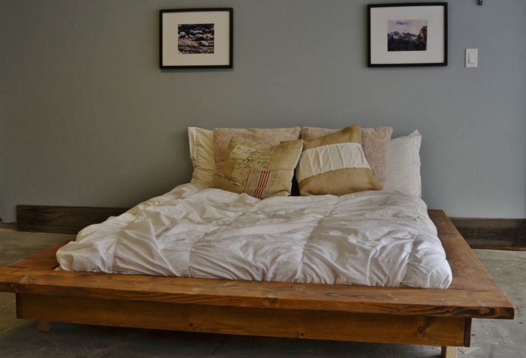 Floating Rustic Wood Platform Bed Knotsandbiscuits On Etsy Of Wooden ...