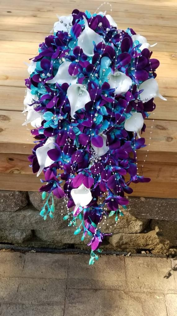 Galaxy orchid cascading bridal bouquet, purple blue orchids, artificial flowers