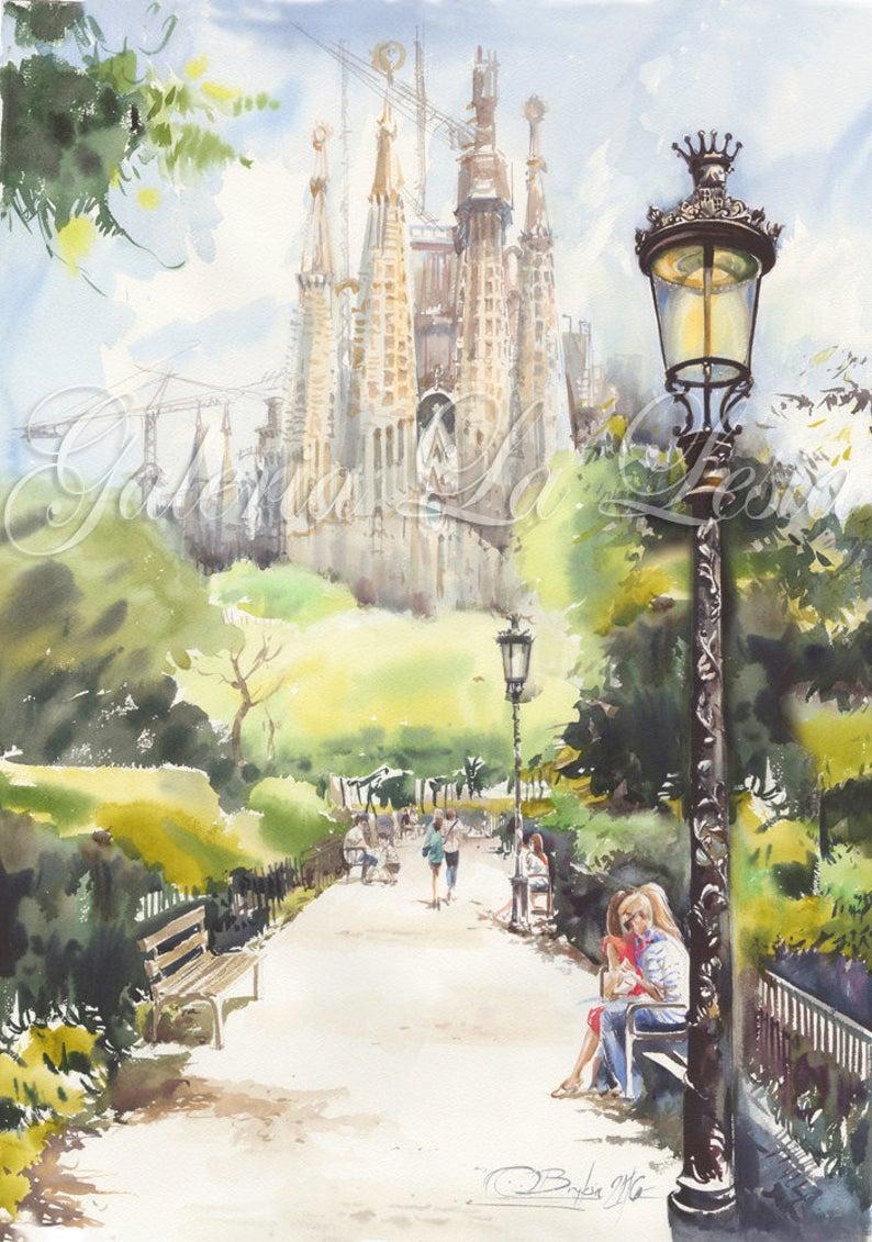 Barcelona Sagrada Familia from the Park   Etsy   Original ...