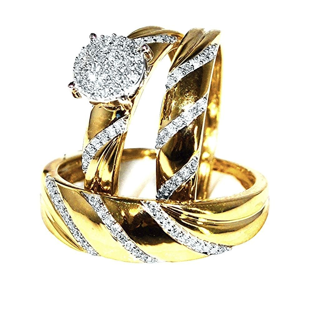 His and Her Wedding Ring Set Trio 10K Yellow Gold 0.3cttw