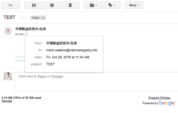 Send and receive email in Chinese from xgenplus to any other email