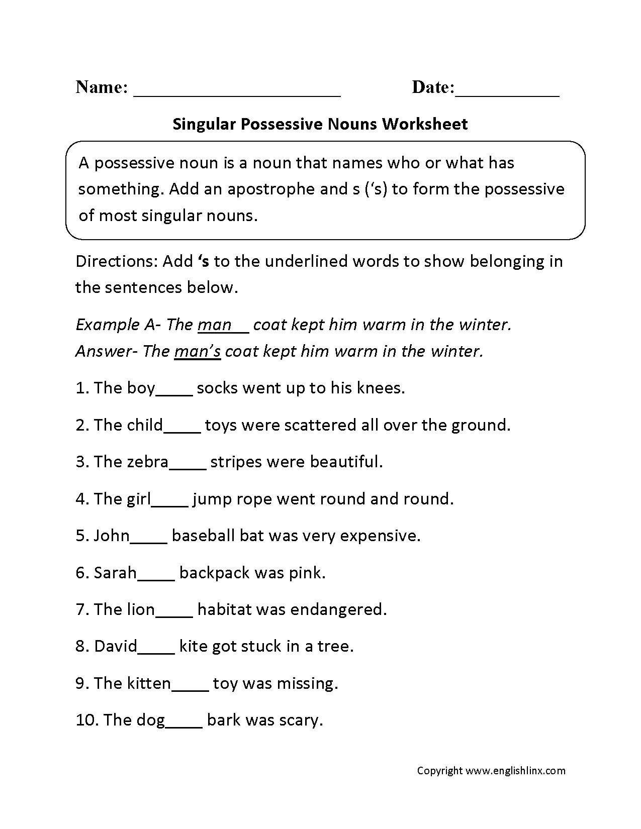 Worksheets Apostrophes Worksheet singular possessive nouns worksheets back to learning support this worksheet directs the student add an apostrophe s each noun make it possessive