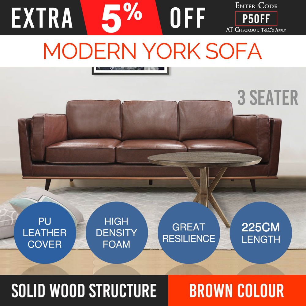 Sofa New 3 Seater Leatherette Brown Colour High Density Foam ...