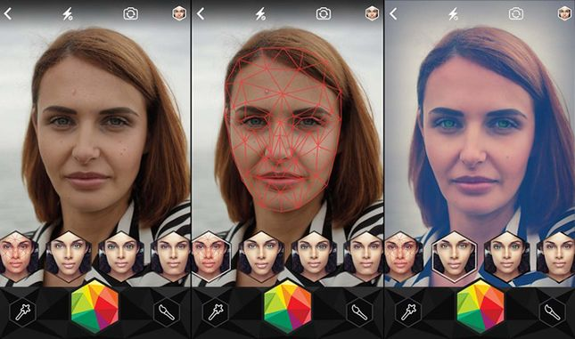 This app uses face tracking to apply video filters you can