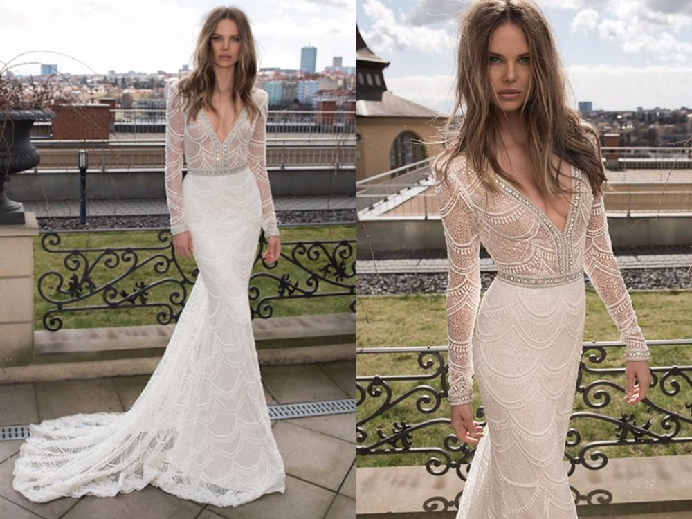 Find More Wedding Dresses Information About Custom Made Lace Mermaid 2015 Long Sleeves High