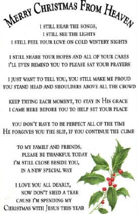 poem/ first christmas in heaven | Personalized Merry Christmas ...