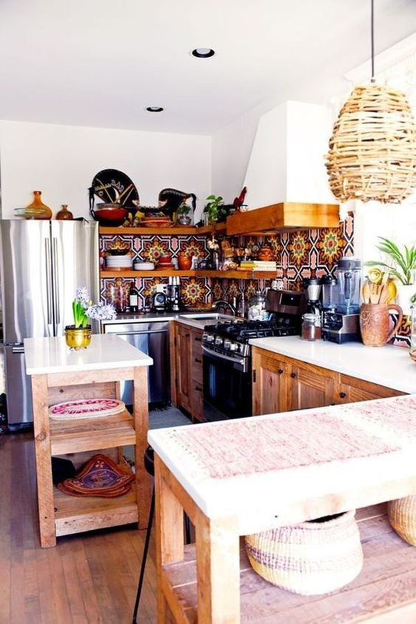 37 farmhouse kitchen design ideas with bohemian vibes bohemian kitchen bohemian style kitchen on boho chic kitchen diy id=49373