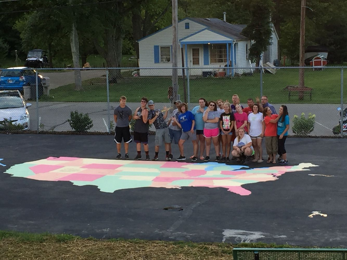 Map of USA. 10 adults and 7 teens painted this in 2 hours.