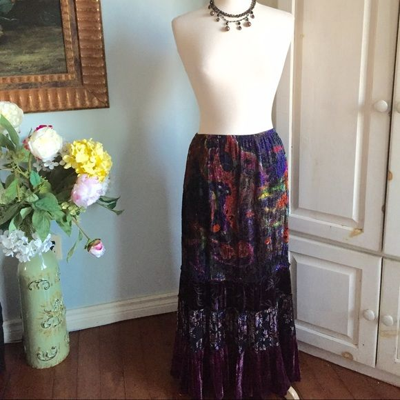 Chico's velvet maxi skirt. Rich colors against velvet make up this beautiful maxi skirt by Chico's. Chico's size 0 which is a 4. Preloved but in excellent condition. A beautiful piece to add to your closet. Chico's Skirts Maxi