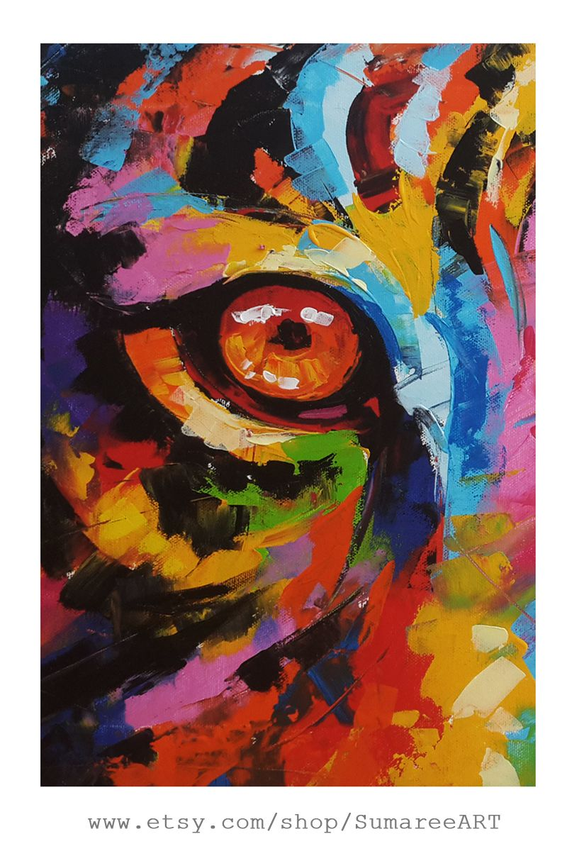 Painting wall decor on etsy tiger eyes rainbow colorful by sumareeart