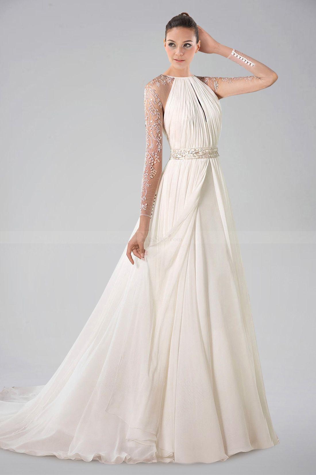 Long sleeve chiffon wedding dress  Luxurious Long Illusion Sleeve Chiffon Wedding Gown with Pleats and