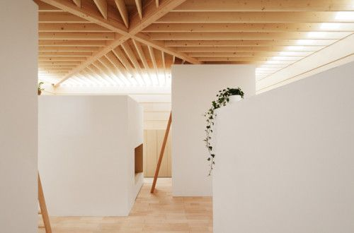 Guo of Light is a minimalist house located in Shizuoka, Japan, designed by mA-Style. The home has a minimalist wood-panel white exterior with a small canopy hanging over a sliding door to the main entrance. The interior is much more compositional having wood accented floors and ceilings juxtaposed against white walls. The ceiling exposes a skylight that runs the perimeter of the house. The light hits a series of wooden columns that produce an interesting array of shadows and scattered light…