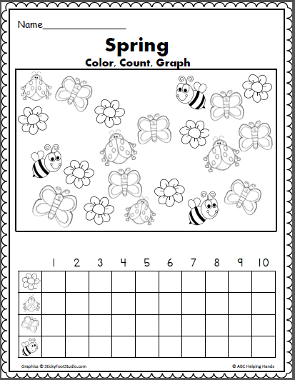Spring Color Count And Graph Math Activity Made By Teachers Spring Math Worksheets Kindergarten Spring Math Worksheets Spring Math
