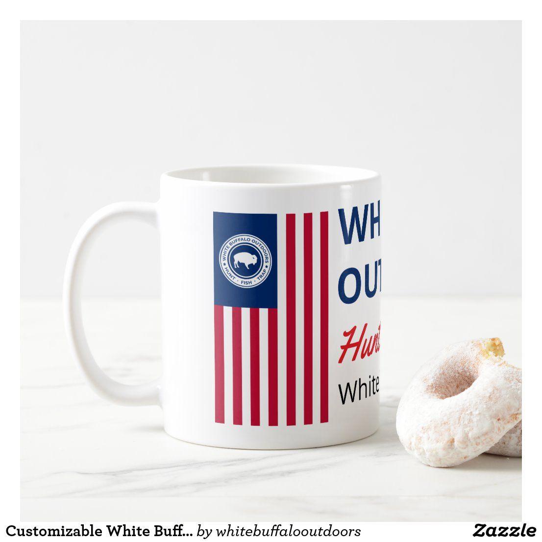 Customizable white buffalo outdoors coffee mug mugs