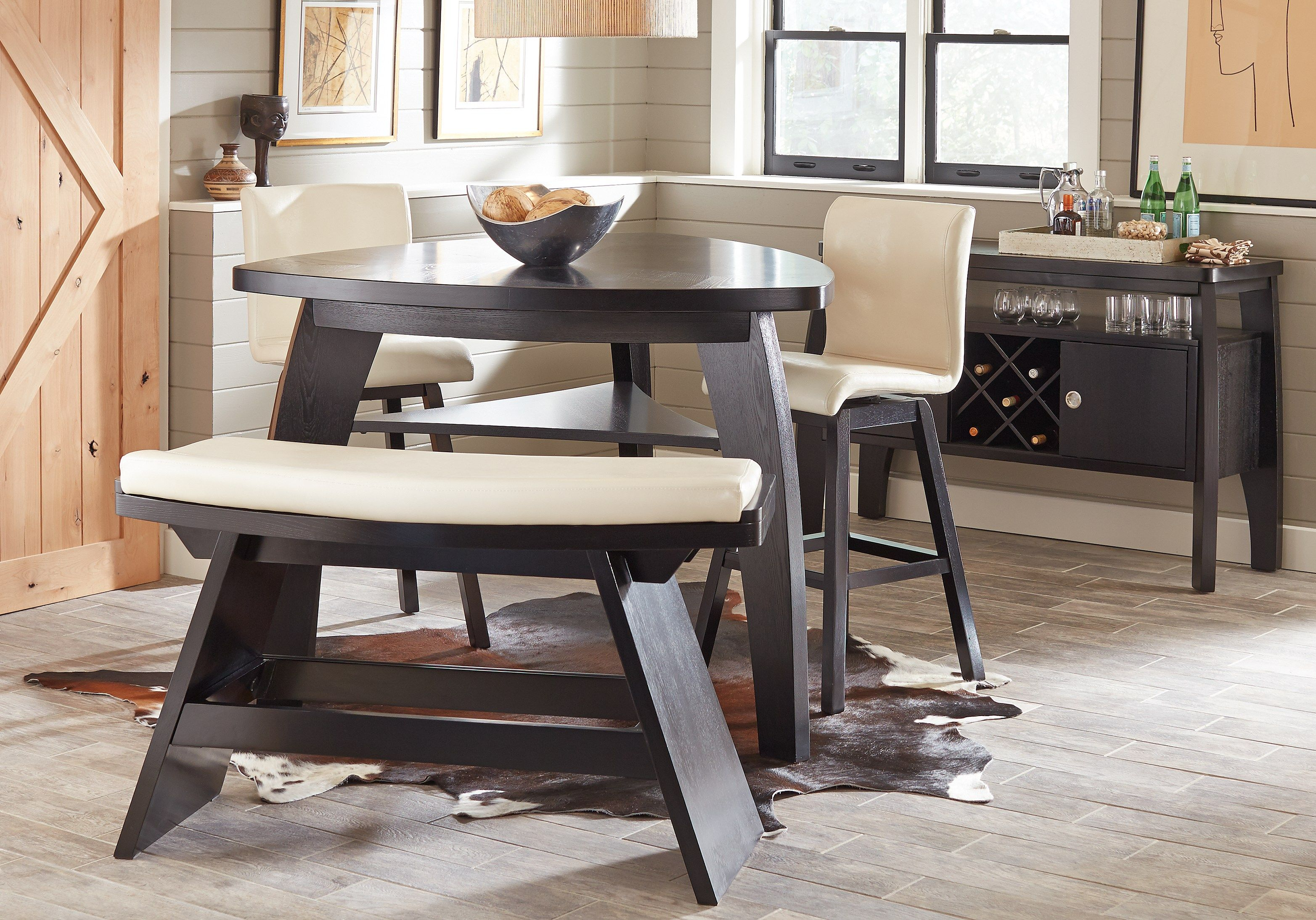 Noah Chocolate 4 Pc Bar Height Dining Room with Vanilla Barstools | Casual dining rooms, Dining ...