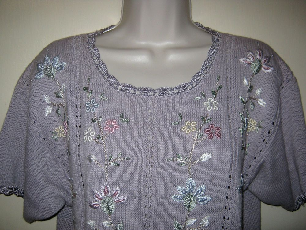 Details about Colleen's Collectibles Lilac Sweater Embroidered
