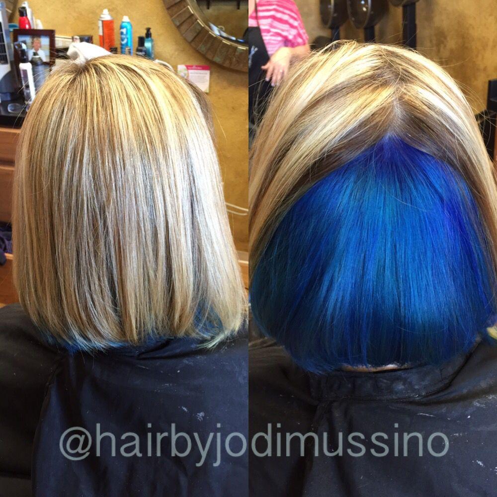Peekaboo Blue Such A Vibrant Beautiful Blue Underneath The Blonde