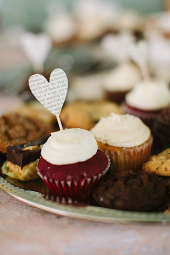 red velvet cupcake with a paper heart topper