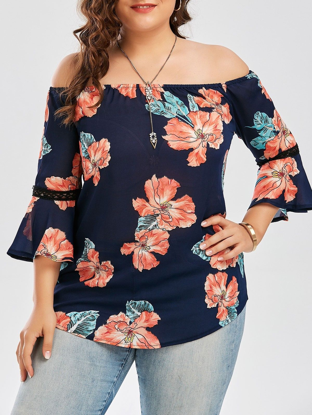 8a887934ade Lady Off Shoulder Plus Size Casual Blouse T-Shirts Floral Print Chiffon Tops