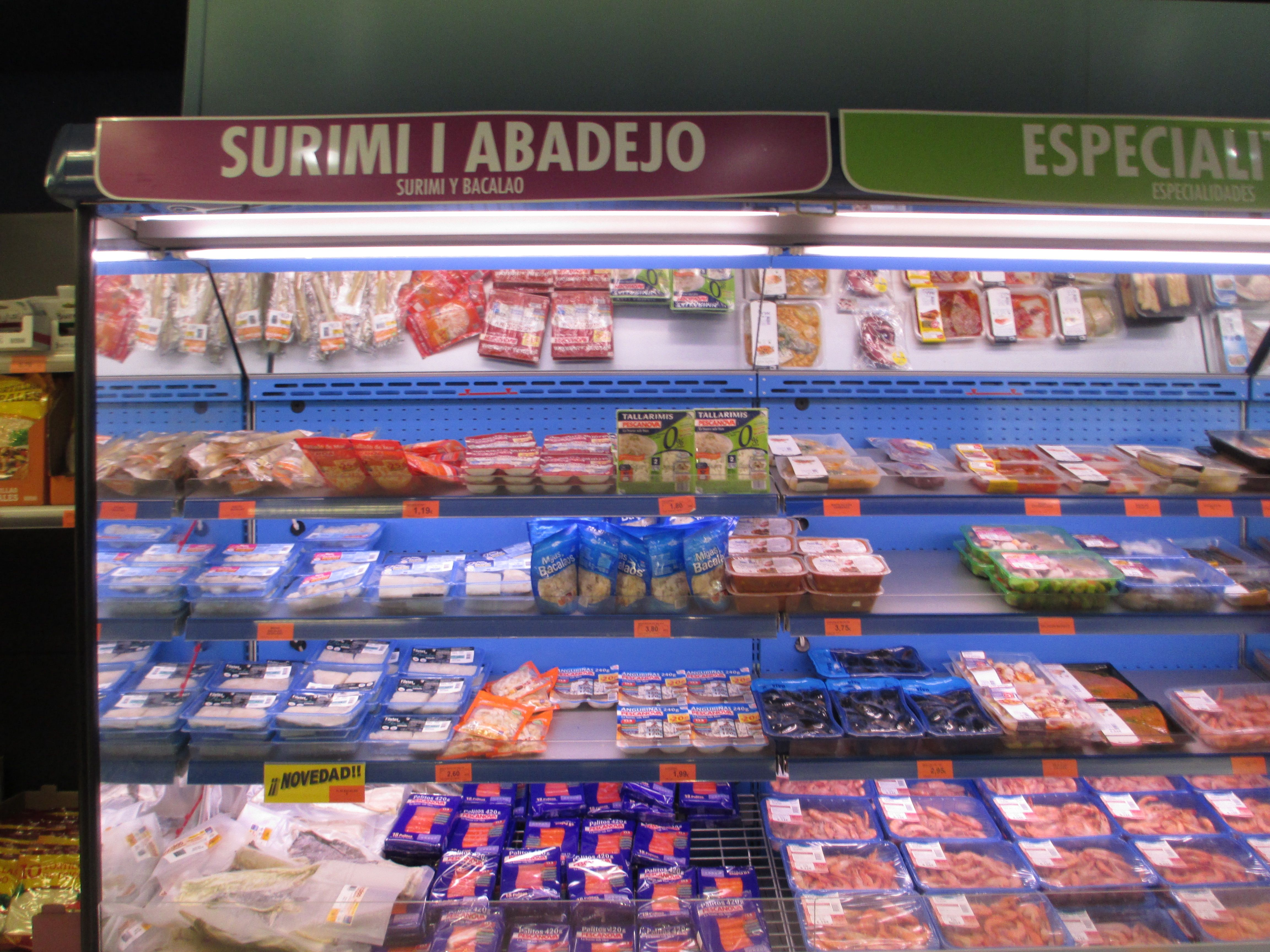 Partial Fresh Fish Display At Mercadona Grocery Store In Altea