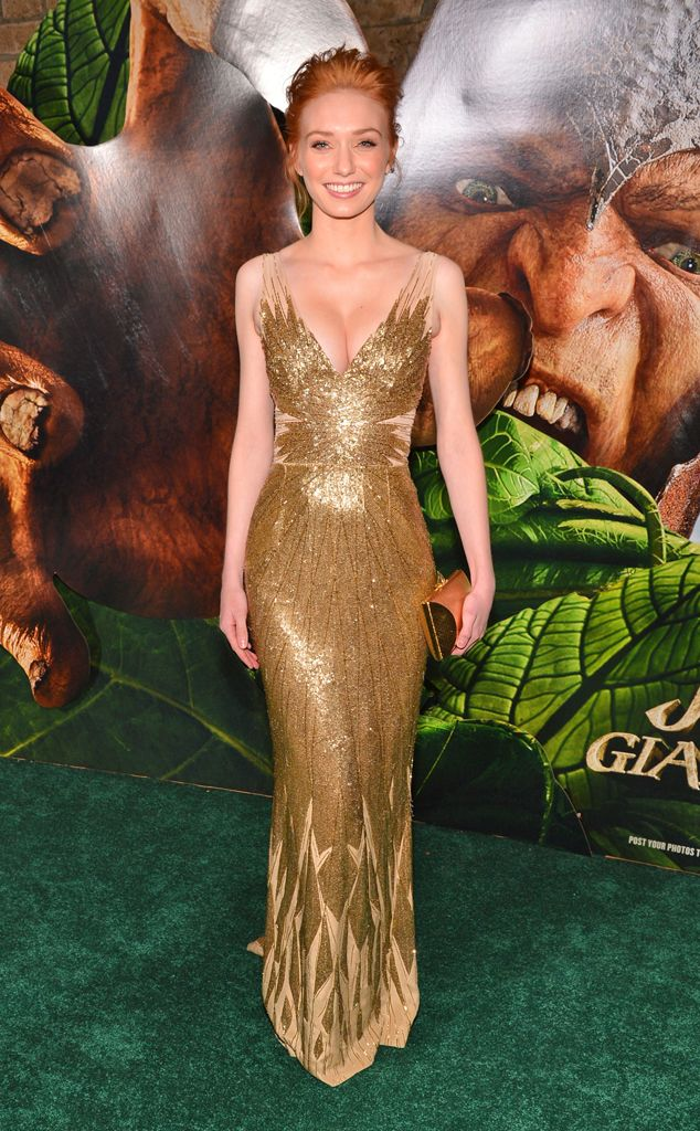 Eleanor Tomlinson in a gold beaded Azzaro dress.