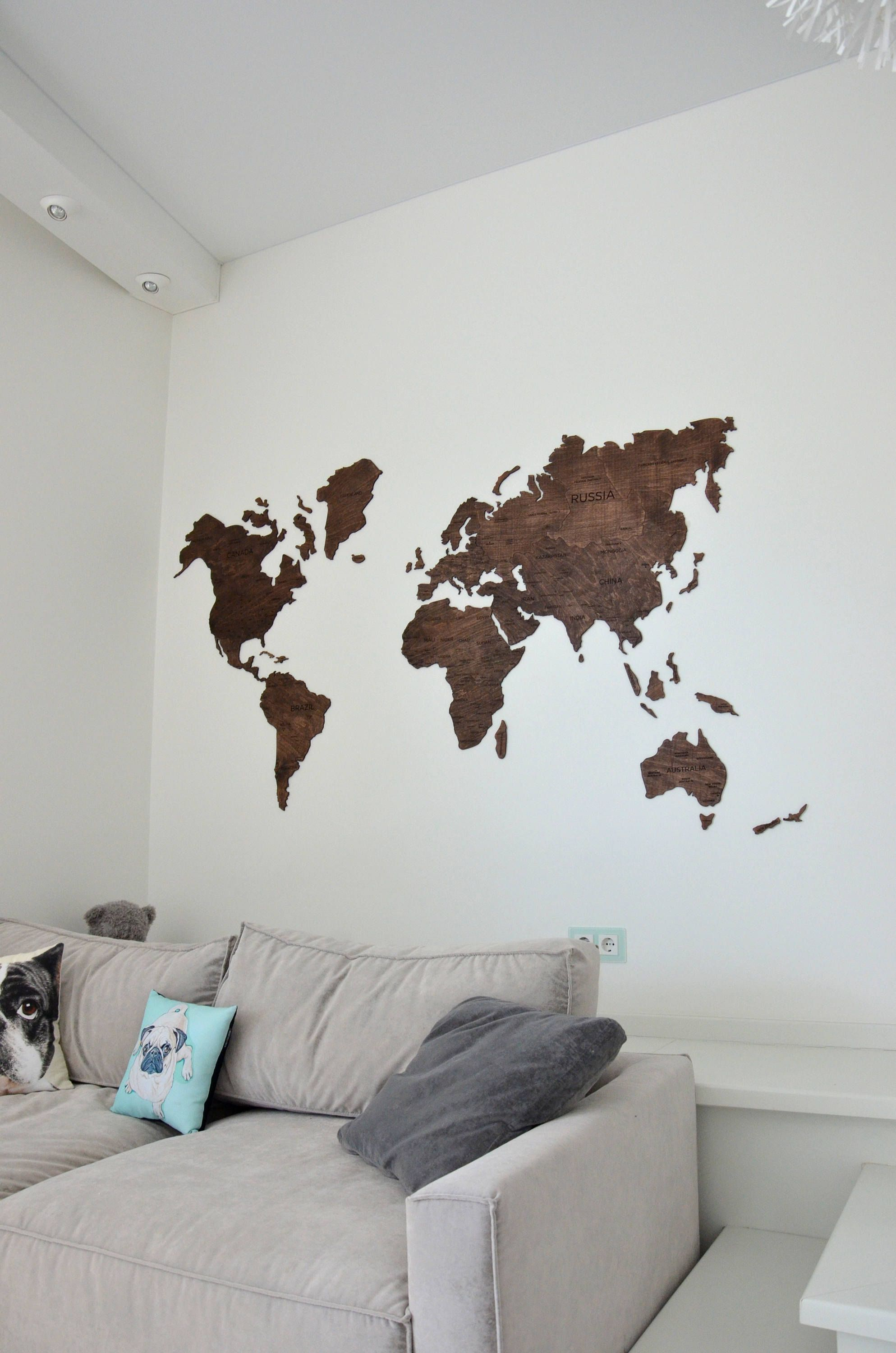 Wall world map wooden large travel map of the world rustic home