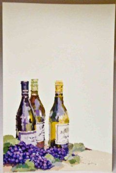 """Amazon.com: 20 Watercolor Wine Bottles & Grapes - Flat Invitations and Envelopes Printable. 5.75"""" x 8.75"""": Everything Else"""