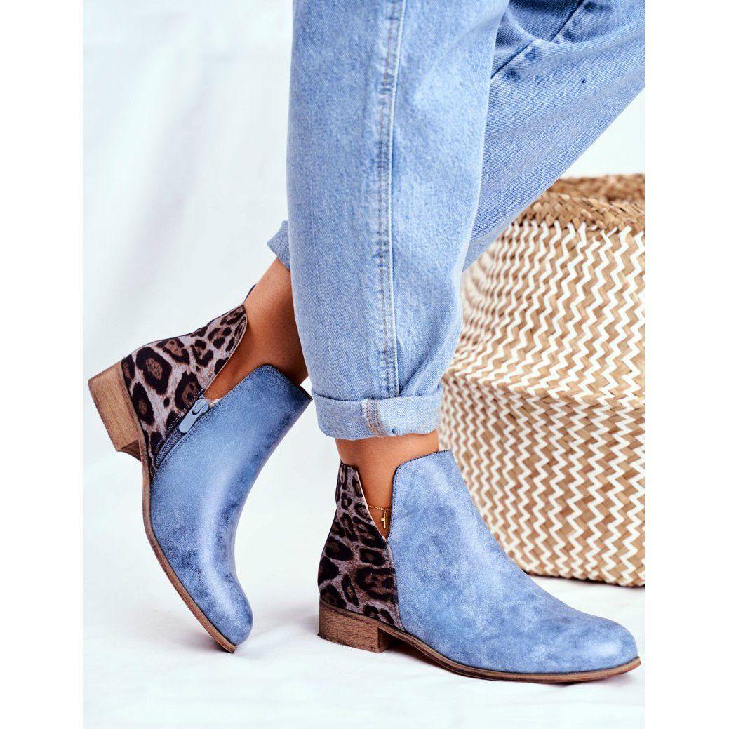 Eve Botki Damskie Plaski Obcas Wiosenne Niebieskie Viva Ankle Boot Shoes Fashion