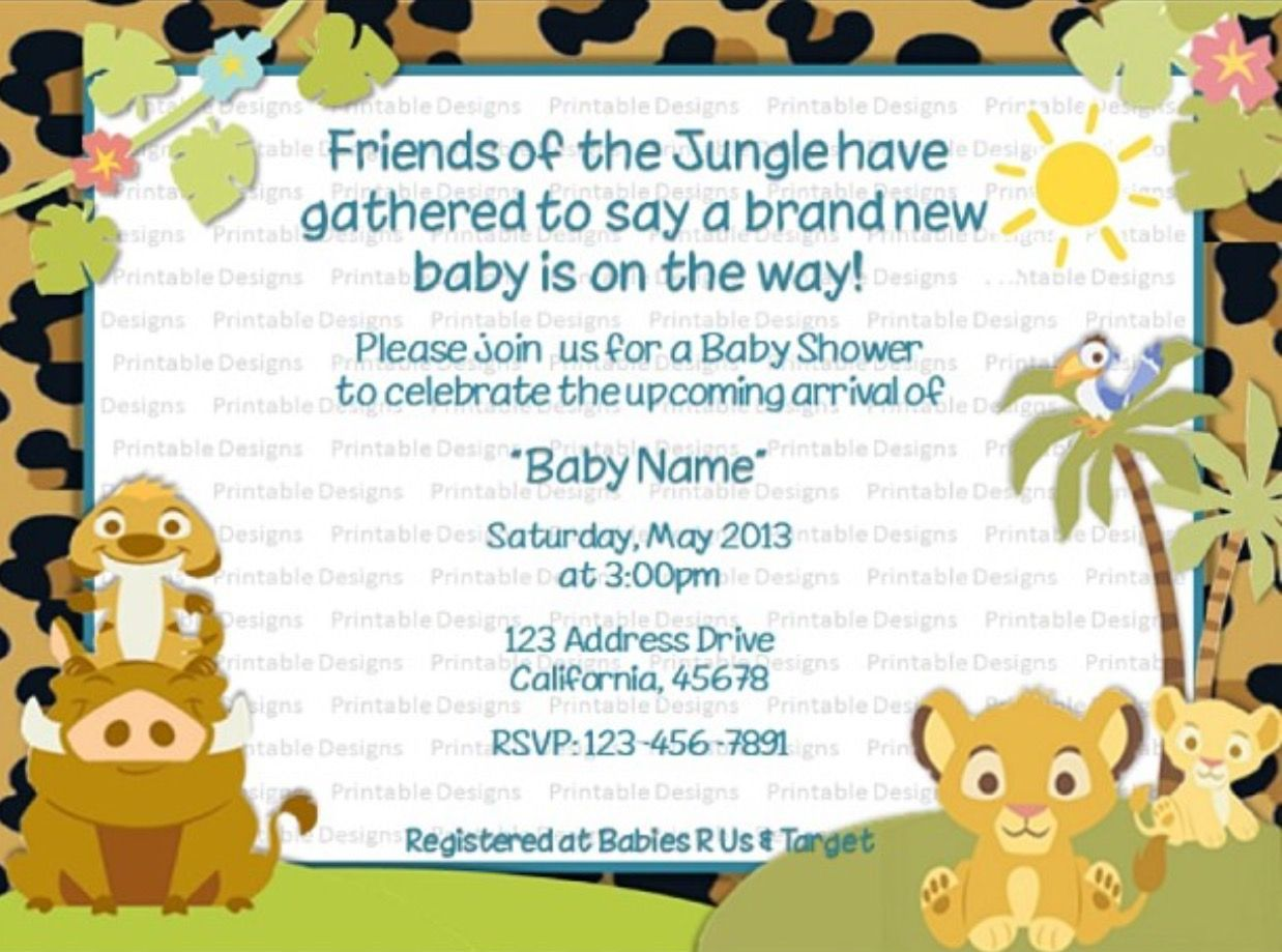 Lion King, Boy Baby Shower. Invitations For Any Occasion! Contact  Printableedesignss@gmail