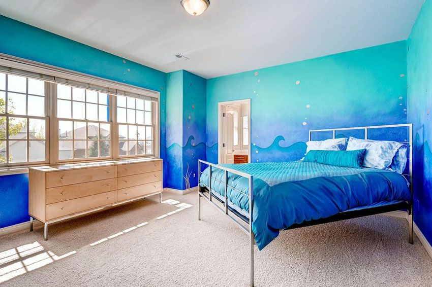 Tropical Bedroom With Blue Painted Walls Wave Art Design