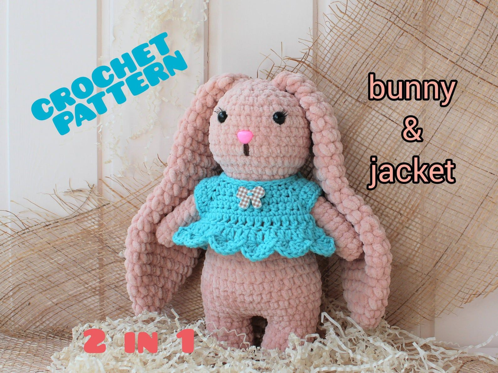 Toy Bunny Crochet Pattern and clothes #bunnyplush