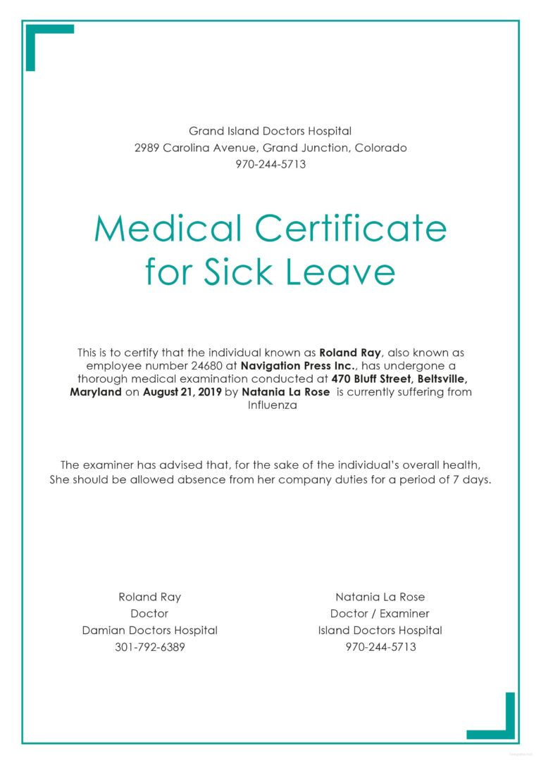 Free Medical Certificate For Sick Leave In 2020 Sick Leave Free Medical Certificate Templates
