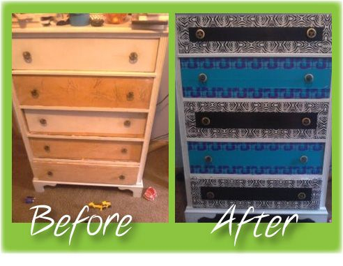 Duct Tape Decorating   Before And After Dresser Decorated With Duct Tape
