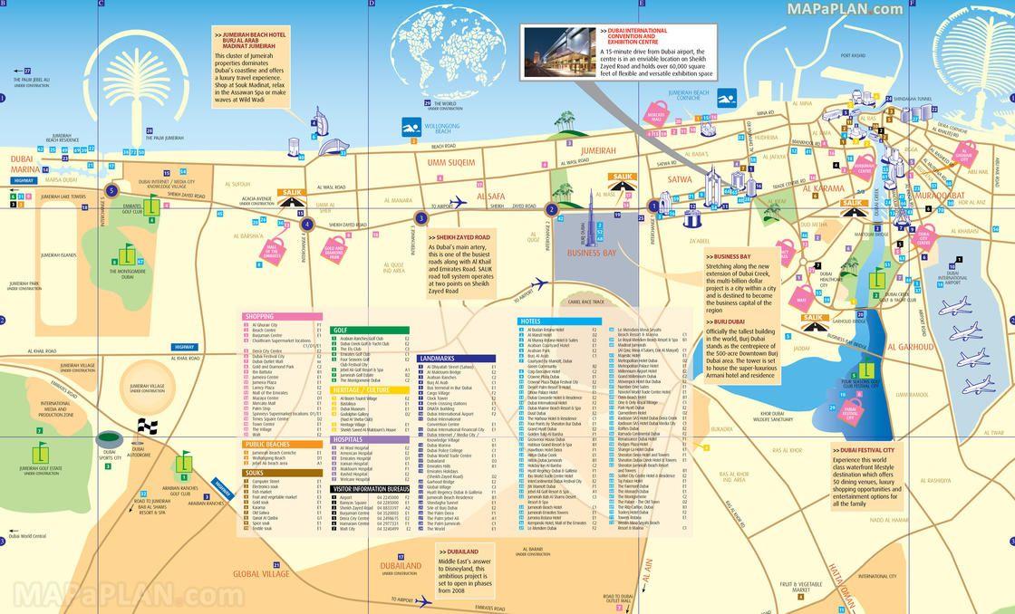 Map Of Dubai Tourist Attractions Sightseeing Tourist Tour Carte Touristique Carte Dubai Visiter Dubai